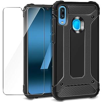 AROYI Funda Samsung Galaxy A40 + Protectores de Pantalla in Cristal Templado, Robusta Carcasa Híbrida TPU+PC de Doble Capa Anti-arañazos Caso para ...