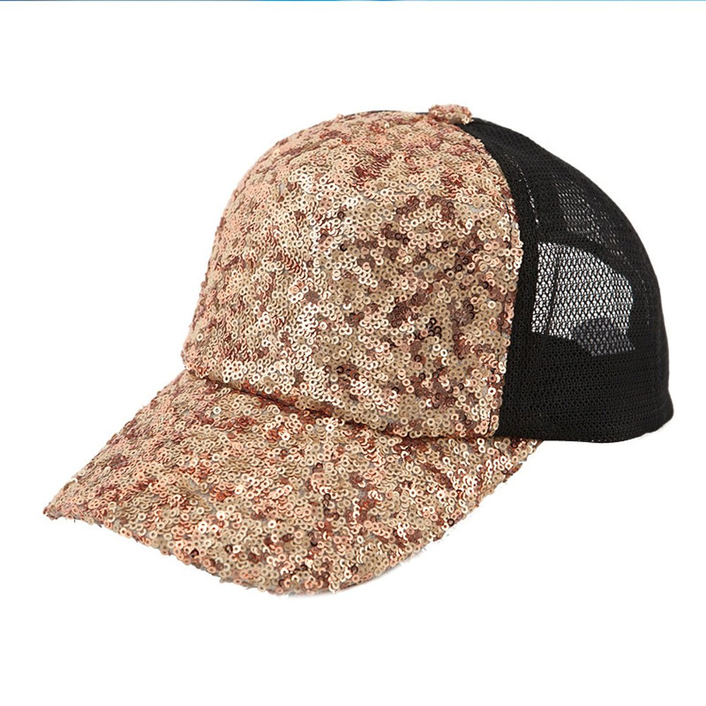 GUO - Hut weibliche Sommerart und weisegezeiten sequined Baseballmütze beiläufige Kappe Frühling und Sommersonne Hut-Hopfenhut (golden)
