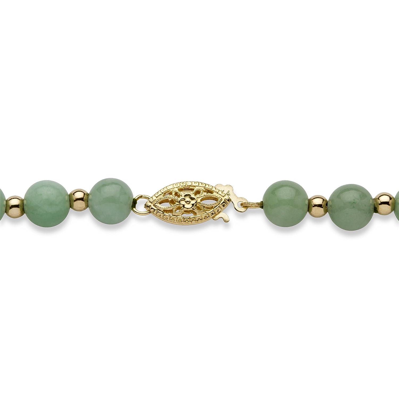 Genuine Green Jade 10k Yellow Gold Beaded Graduated Necklace 18
