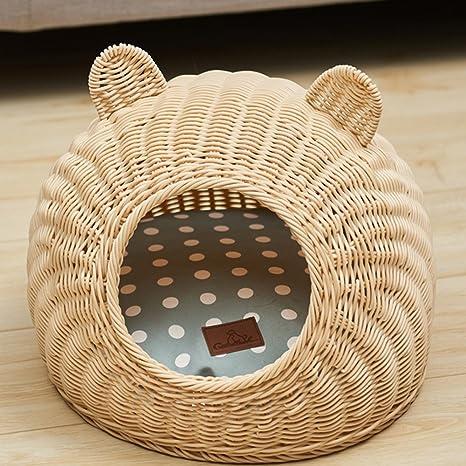 Huangyingui Cama De Mimbre para Mascotas Cama Nido para Mascotas Gato Rattan Kennel Muebles para Mascotas