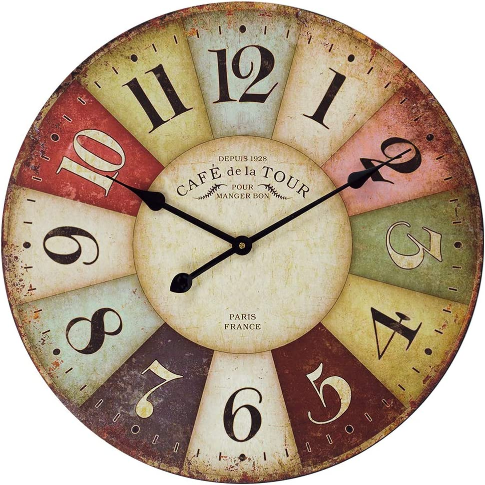 Vintage Wall Clock, French Art Decor Wooden Clock with Larger Colorful Arabic Numerals, Silent Non-Ticking Battery Operated Decor Clock for Living Room, Bedroom, Kitchen, Cafe & Bar - 18 Inch, Paris