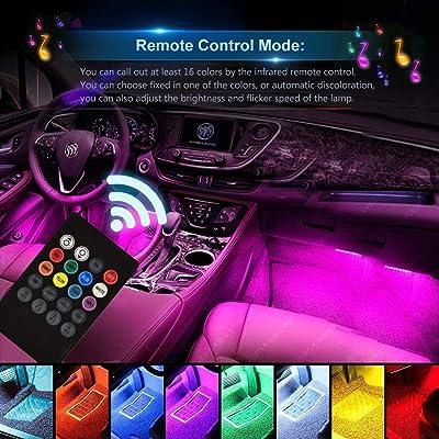 4PCS Car USB RGB 48 LED Light Strip Interior Atmosphere Neon Lamp Remote Control