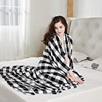 DANGTOP Buffalo Plaid Cooling Blankets, Lightweight Black White Checker Plaid Decorative Throw Blanket for Hot Sleepers…