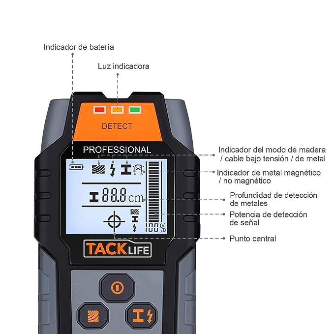 Detector de Pared, Tacklife DMS03 Detector de Metal, Madera y AC Cable, Escáner de Pared Clásico y Multifuncional, Indicación de Distancia, Batería Incluida ...