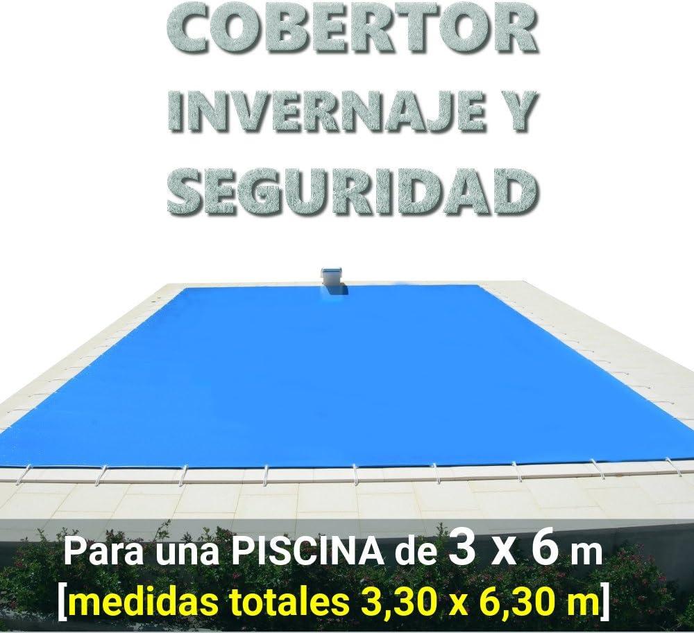 Cobertor, lona, cubierta, toldo,... de invierno para cubrir una piscina de 3 x 6 m. Medidas totales del cobertor: 3,30 x 6,30 m.