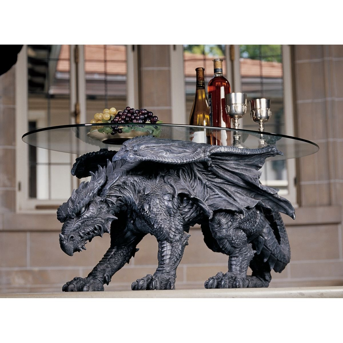 Amazon Com Design Toscano Warwickshire Dragon Glass Topped Coffee Table Kitchen Dining