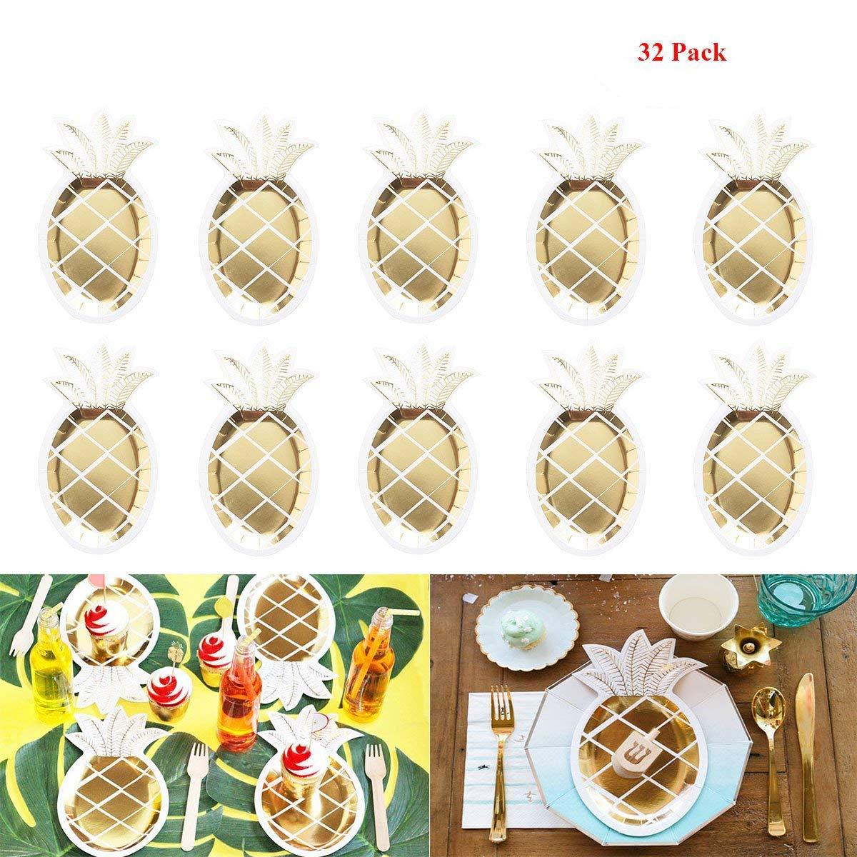 Pineapple Paper Plates - 32 PCS Gold Foil Pineapple Paper Plates Disposable Plates Tableware Set for Luau Hawaiian Birthday Party Supplies