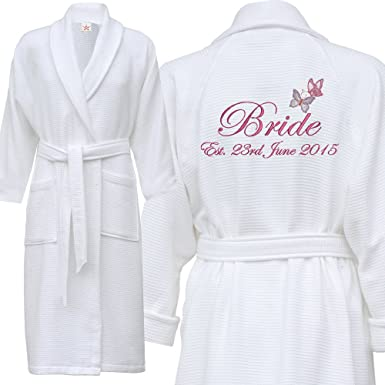 02a7d14adc Star and Stripes Personalised Bathrobe Butterfly Waffle Embroidered with  Your Name Wedding Day Dressing Gown Robe  Amazon.co.uk  Clothing