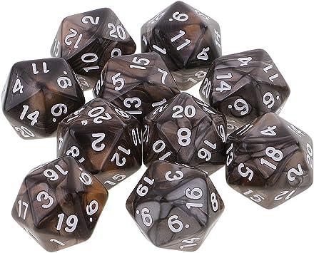 sharprepublic Dados Polihédricos De 10 Piezas D20 Dados De 20 Caras para Calabozos Y Dragones DND RPG MTG - Café Gris: Amazon.es: Juguetes y juegos
