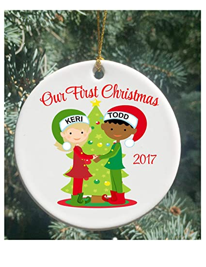 Amazon Com Littledollz Personalized Christmas Ornaments Interracial