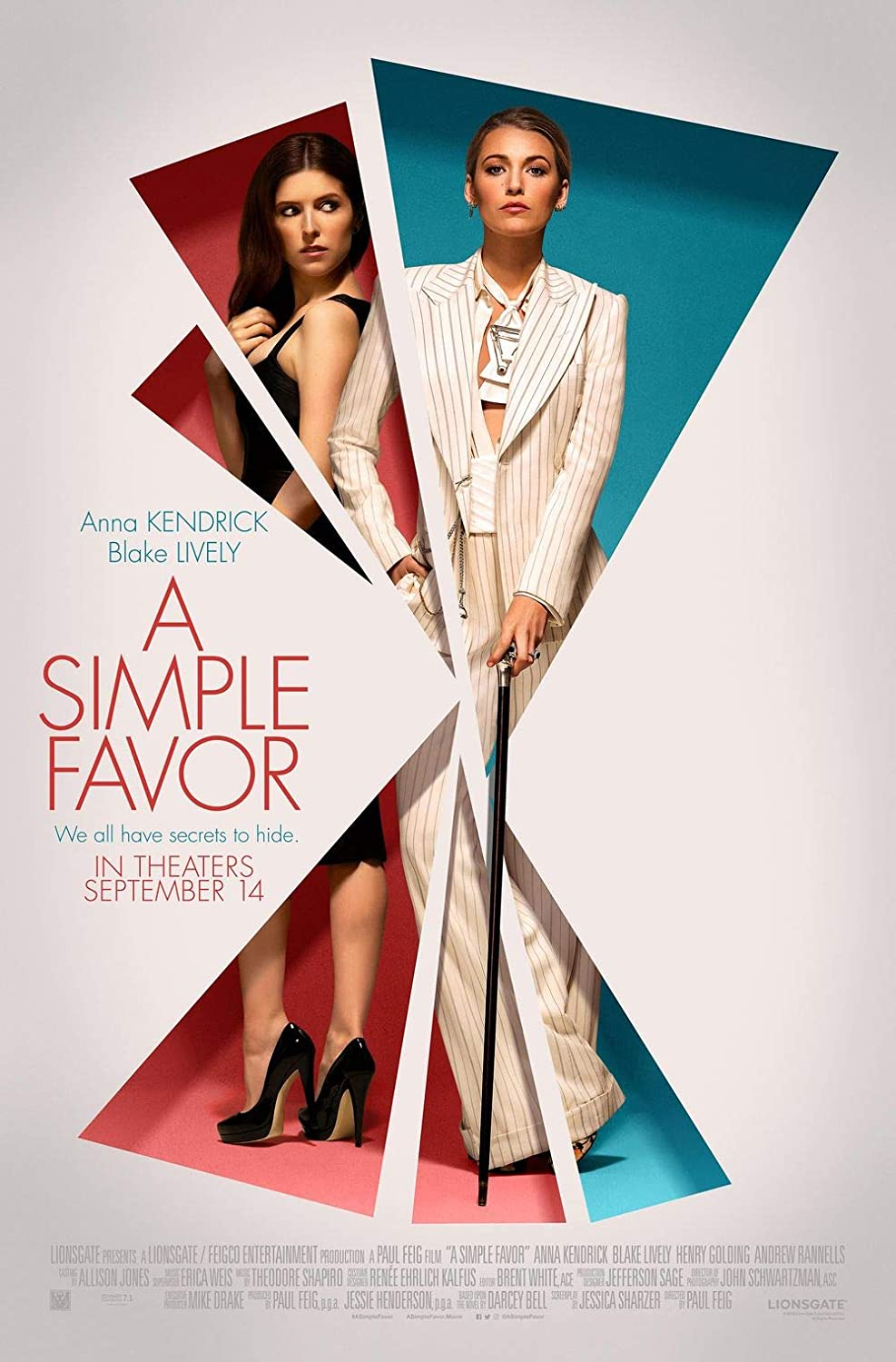 Amazon.com: A Simple Favor Movie Poster 18'' x 28'' - by ...