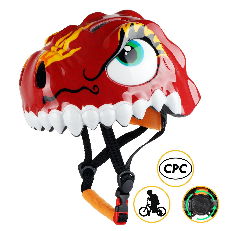Red Shinmax Kids Helmet 3D Cartoon Dinosaur CPC/&CE Certified Adjustable
