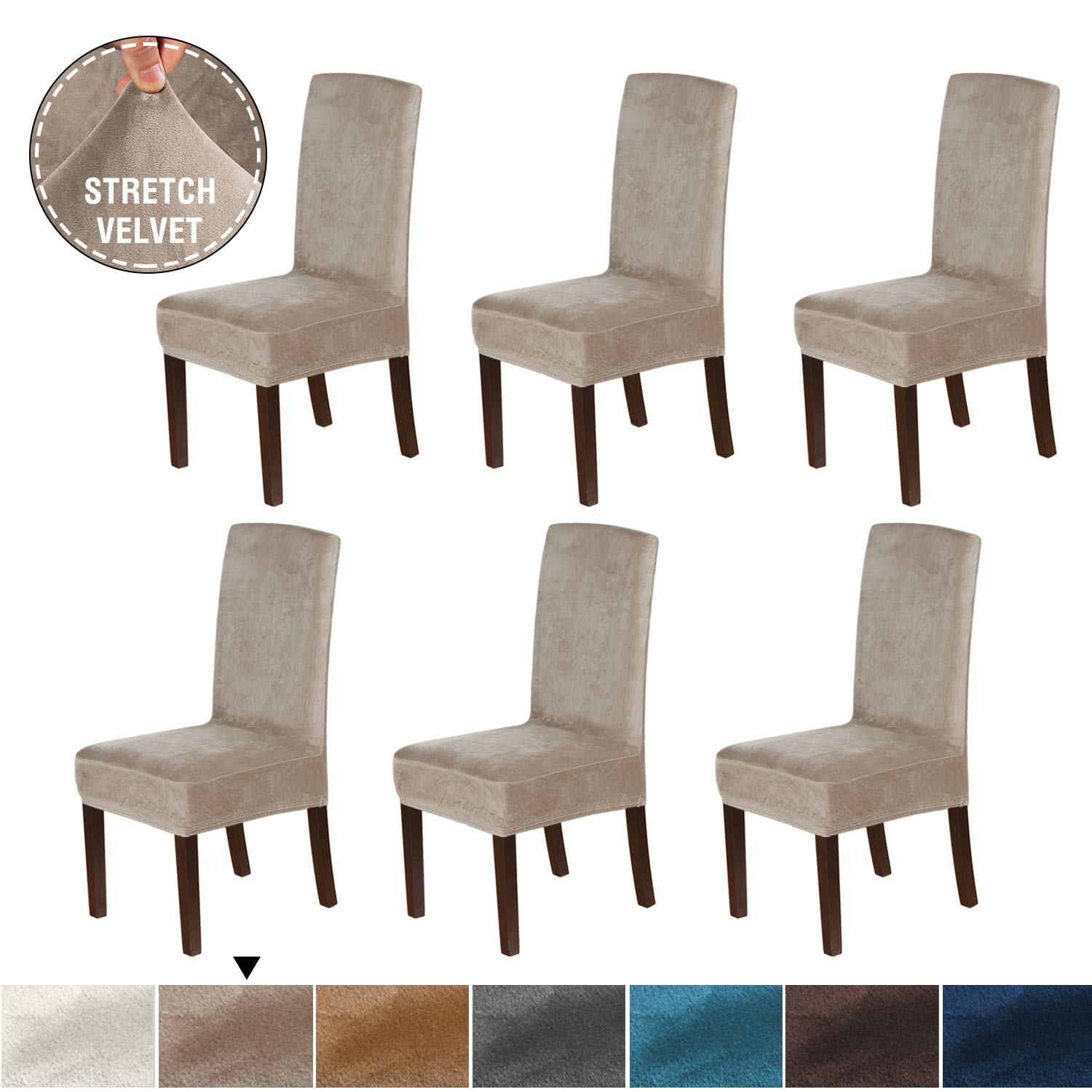 H.VERSAILTEX Original Velvet Stretch Dining Room Chair Covers Velvet Plush Removable Washable Kitchen Parson Chair Slipcovers Chair Protector Cover for Hotel, Dining Room, Ceremony, Set of 6, Taupe by H.VERSAILTEX