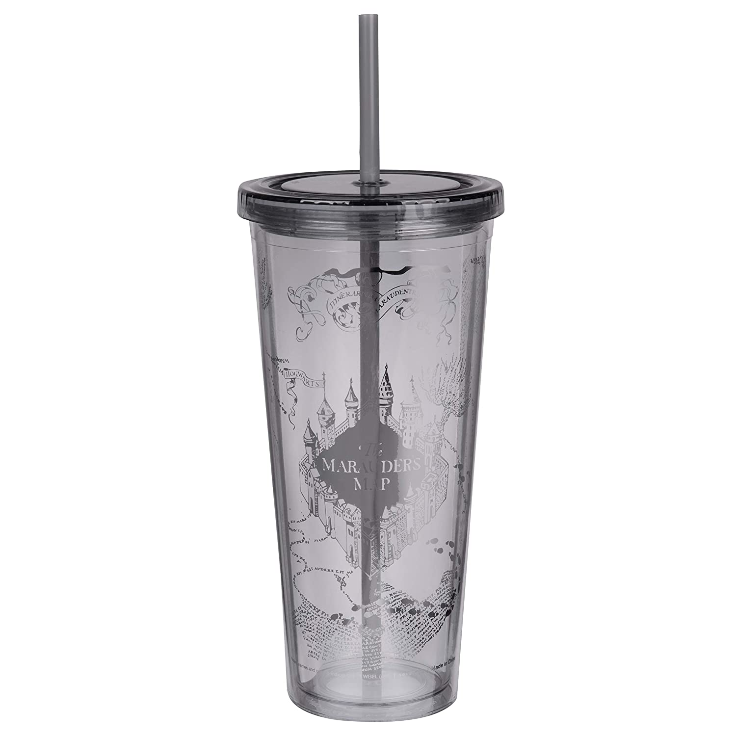 Acrylic Tumbler with Silver Design Harry Potter Marauders Map Travel Cup with Straw I Solemnly Swear That I Am Up to No Good 22 oz