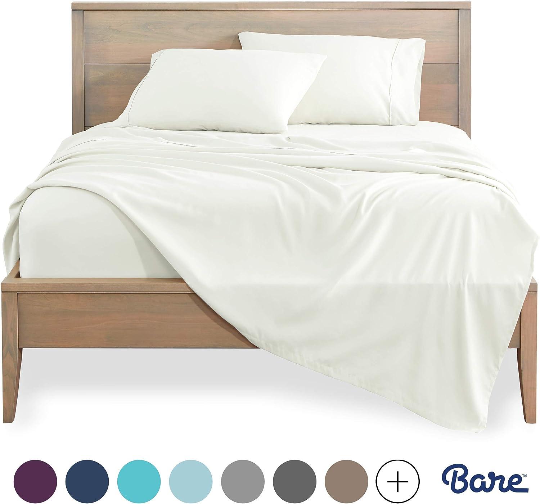 Bare Home King Sheet Set - 1800 Ultra-Soft Microfiber Bed Sheets - Double Brushed Breathable Bedding - Hypoallergenic - Wrinkle Resistant - Deep Pocket (King, Warm White)