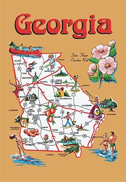 Map Of Georgia Augusta.Amazon Com Georgia Map Ga Atlanta Savannah Augusta Peaches