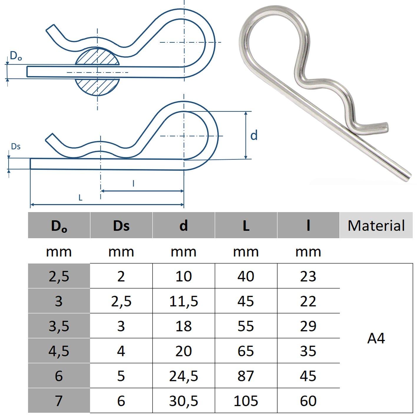 1 St/ück BOOTSTEILE BRAUER/® Federstecker Einfach D= 2,5 x 55 mm - - Stecker//Splint aus Edelstahl A4