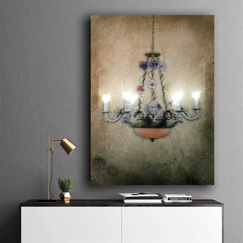 Led wall picture retro crystal chandelier designs canvas art