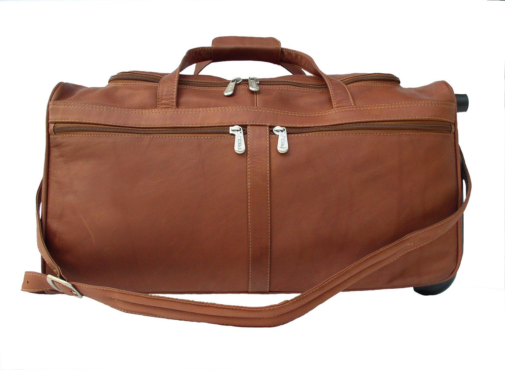 Piel Leather Traveler Duffel Bag on Wheels in Saddle