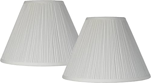 Antique White Pleated Lamp Shade Set of 2 Traditional 6.5x15x11 Spider – Brentwood