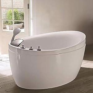 Empava 48 Inch Acrylic Luxury Freestanding Bathtub Hot Whirlpool Soaking SPA Air Massage Tub White, JCB011, Wood