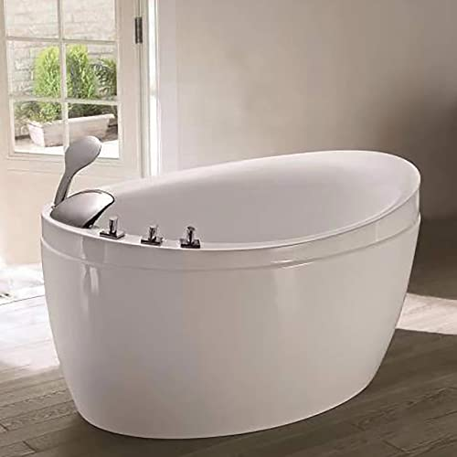 Empava Made in USA 48 Inch Acrylic Luxury Freestanding Bathtub Hot Whirlpool Soaking SPA Air Massage Tub White, JCB011, Wood