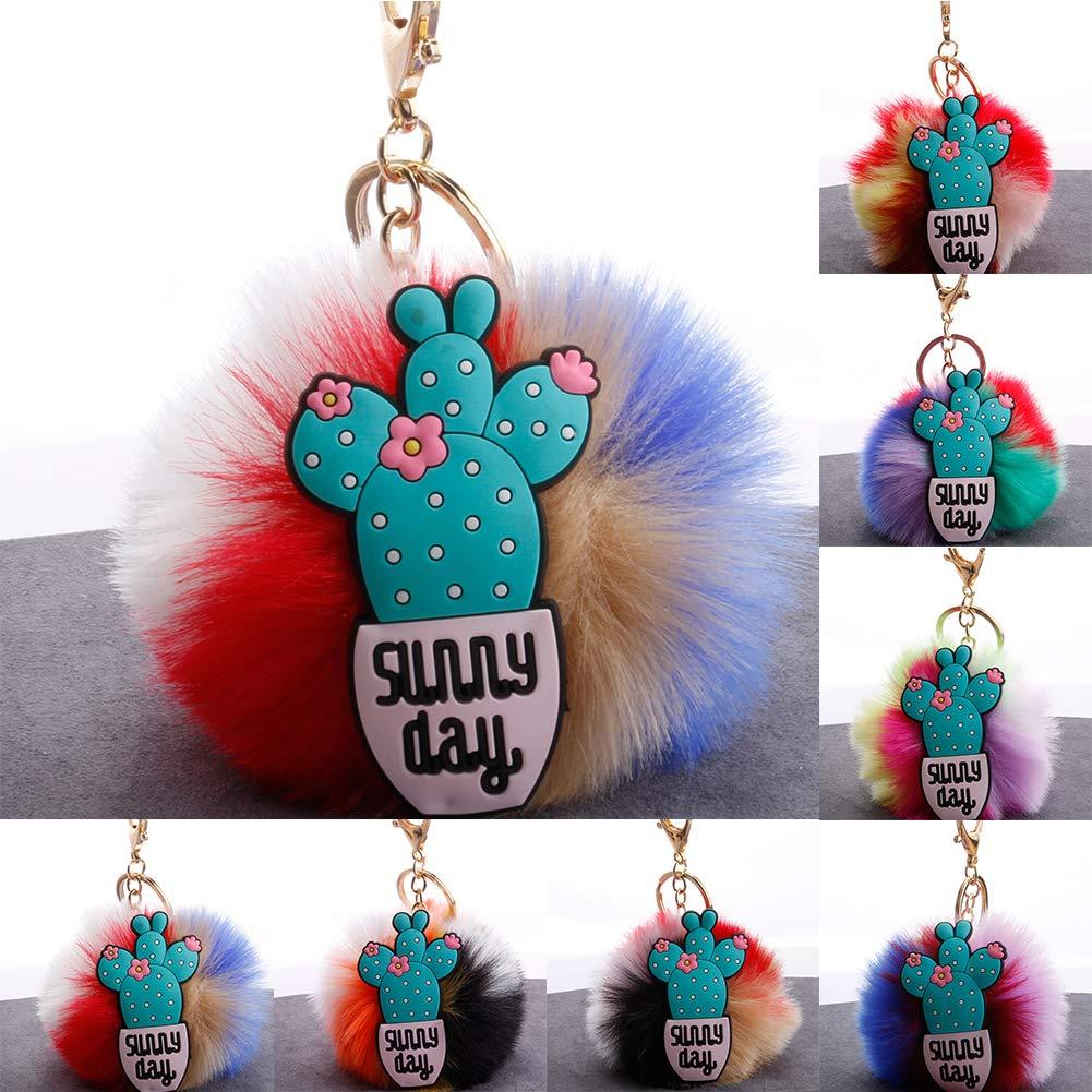 Slendima 3.15'' Lovely Silicone Cactus Fluffy Ball Keyring Car Key Chain Handbag Decor Gift 7# by Slendima (Image #3)