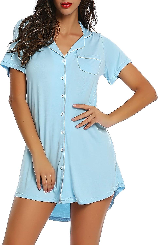 Womens Bamboo Sleep/Night/Pajama/Pj Shirts Gown - Button Down/Long/Short Sleeve