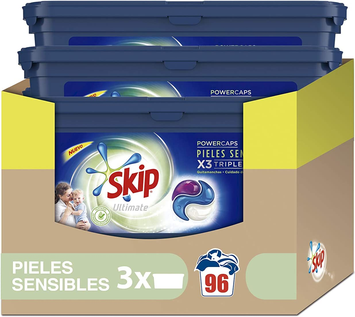 Skip Ultimate Triple Poder Pieles Sensibles Detergente Cápsulas para Lavadora - Paquete de 3 x 32 lavados - Total: 96 lavados