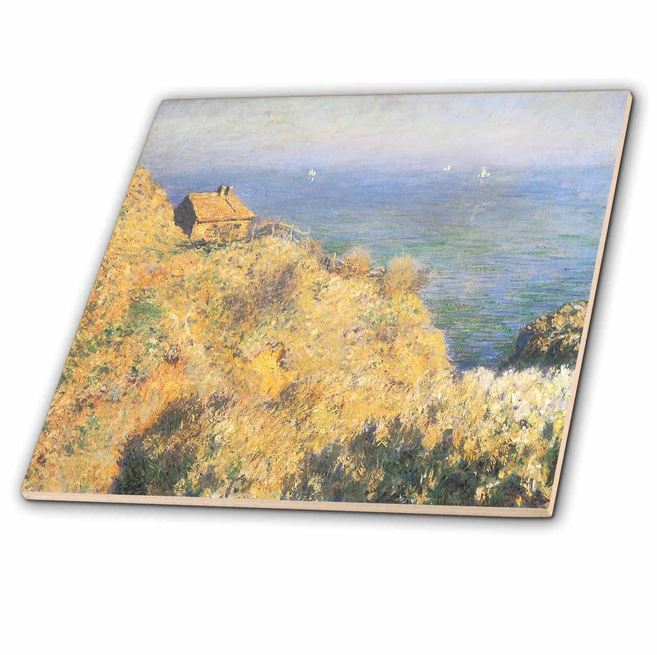 3dRose ct_126598_1 House of The Fisherman, Varengeville by Claude Monet, 1882 Ceramic Tile, 4-Inch