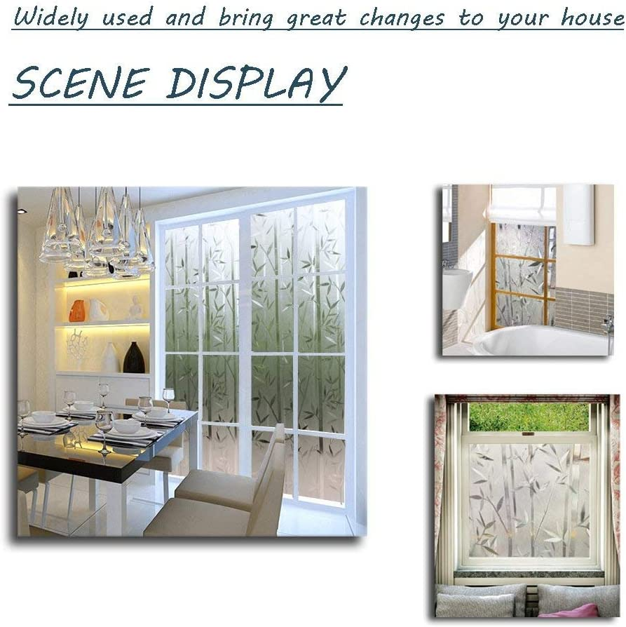 LEMON CLOUD Window Film 3D Decorative Frosted Privacy Glass Film Static Cling Bamboo Pattern Window Film Non-Adhesive for Living Room Bedroom Kitchen Lobby Porch Office 35.4 x 78.7 inches