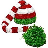 Sombrero - TOOGOO(R)Sombrero de Navidad de punto de ganchillo de foto de bebe de color verde y rojo