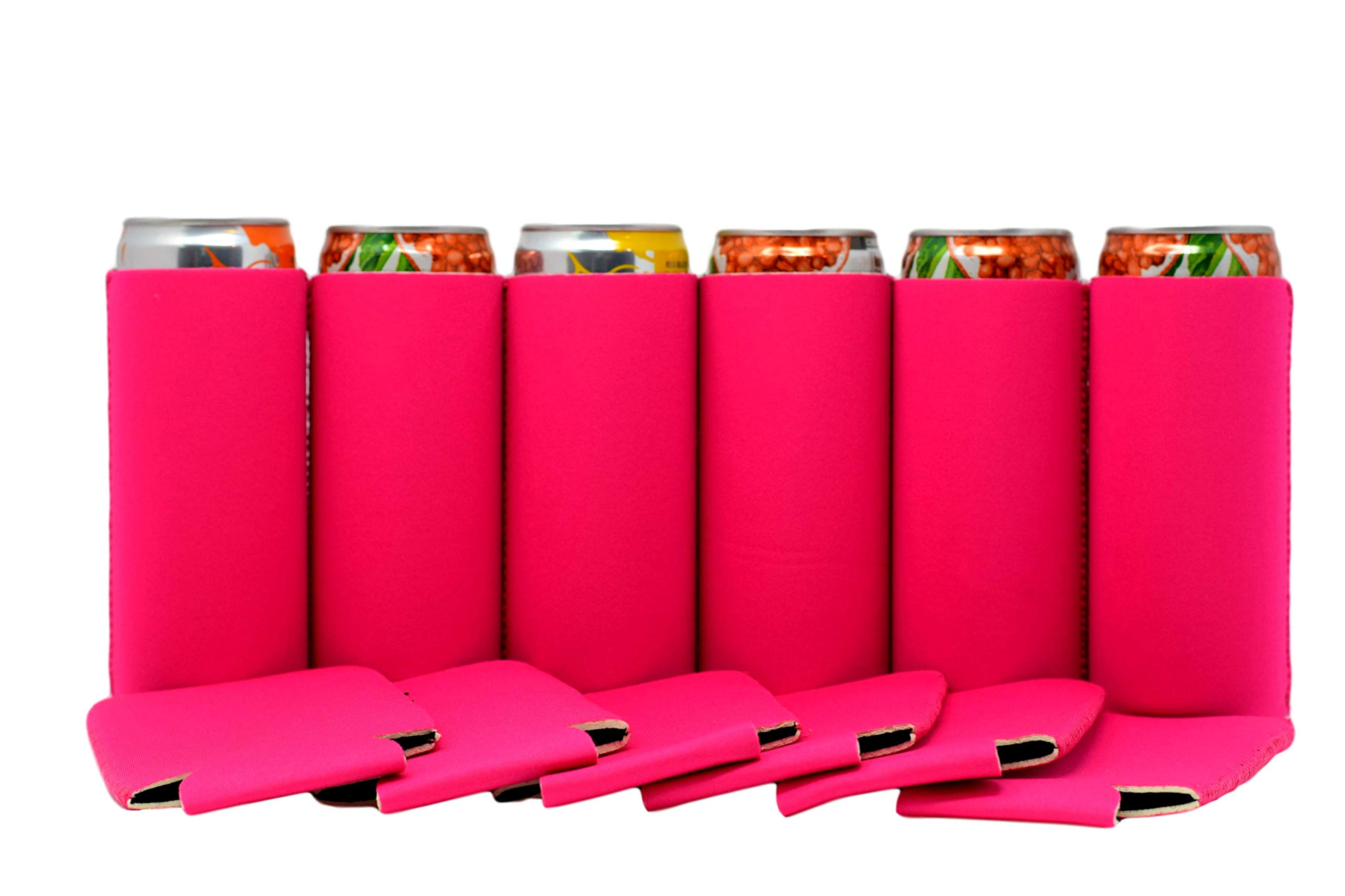 QualityPerfection Ultra Slim Can Sleeves Premium Slim Beer Can,Energy Sleeves Great 4 Holidays,Events,Parties,Independence Day (12, Hot Pink)