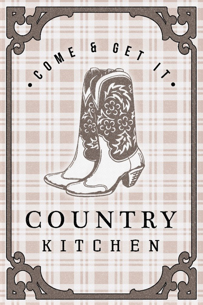 Country Kitchen - Cowboy Boots on Plaid (16x24 Gallery Quality Metal Art)