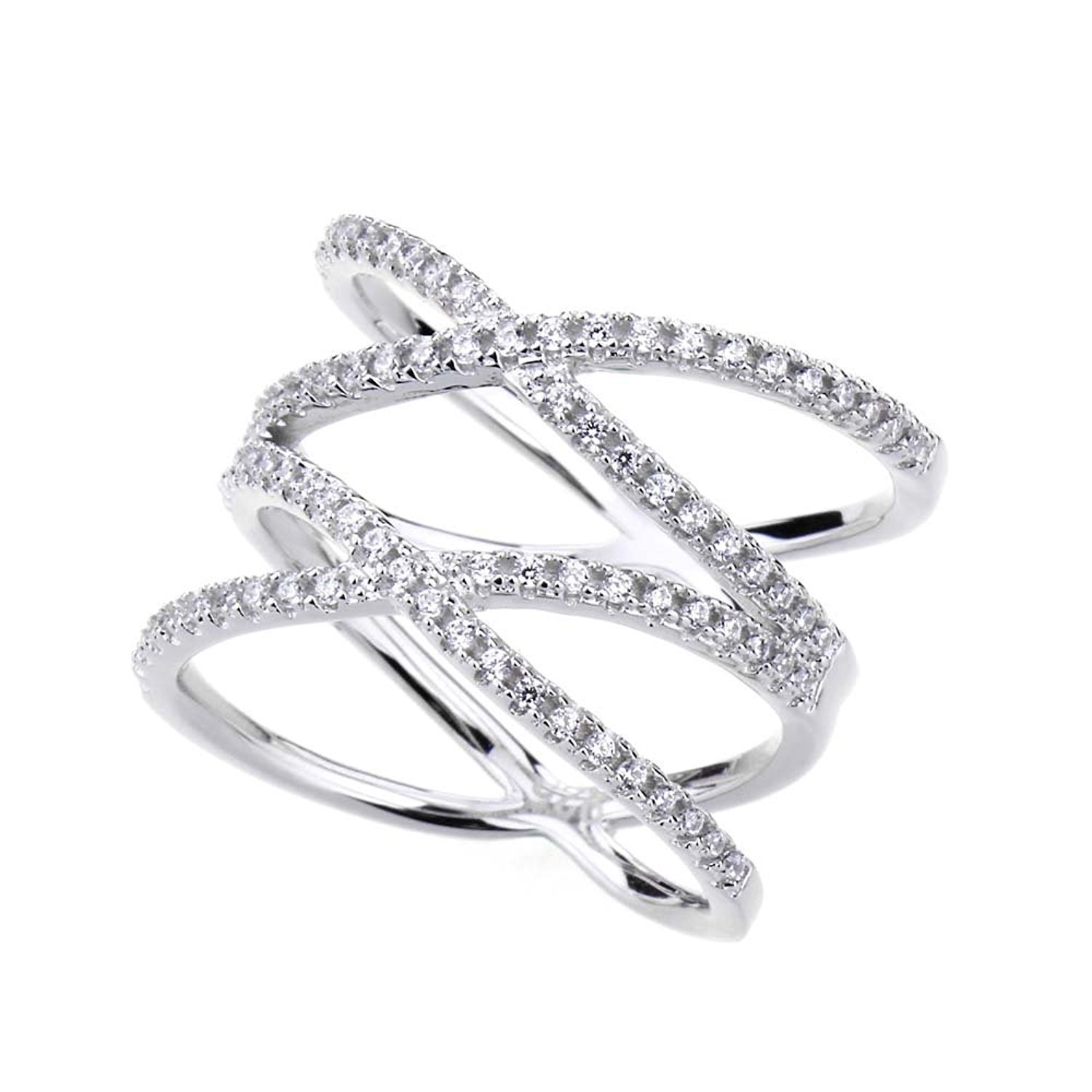 SOMEN TUNGSTEN Double X Criss Cross Ring Sterling Silver Pave CZ Wedding Band