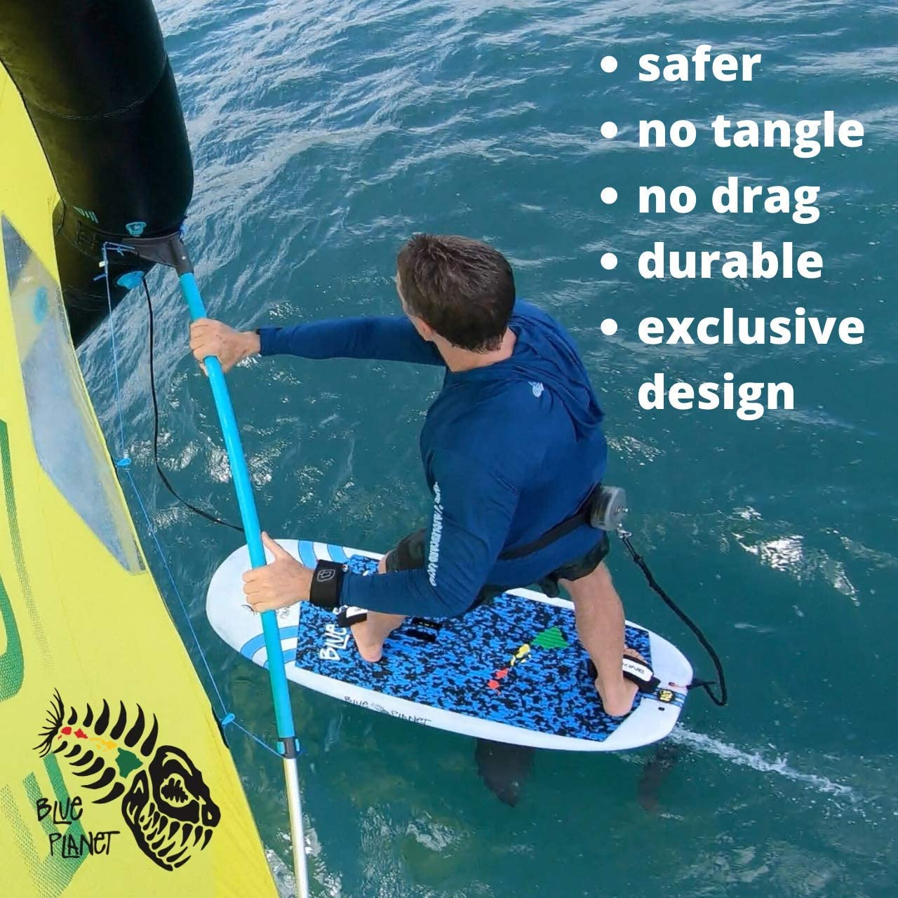 Includes Waist Belt for Secure Blue Planet Foil Waist Leash with Shock Cord Safe Quick Release Reel Leash Designed for SUP Foiling and Wing Foiling Easy Connection