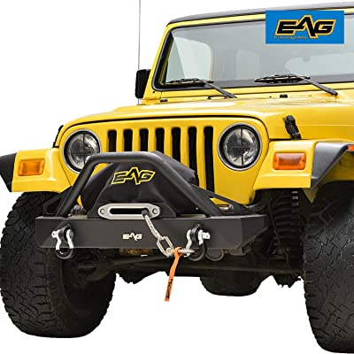 EAG Front Bumper with D-Rings and Winch Plate Fit for 87-06 Jeep Wrangler TJ YJ: Automotive