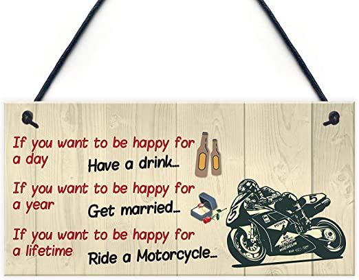 Motorbike Bronze House Sign Plaque with Number