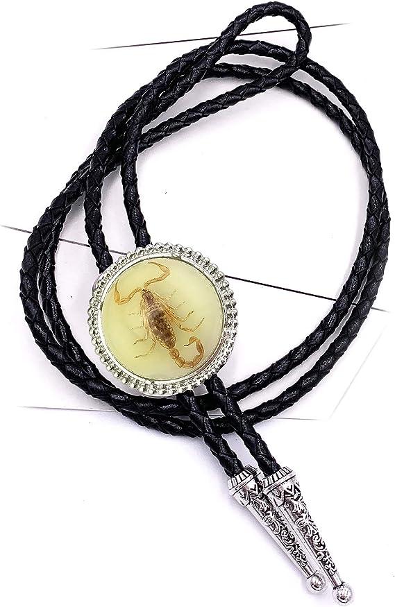 Handmade Unique Luminous Native American White 3D Scorpion Animal Bolo ties for Men Bolo tie