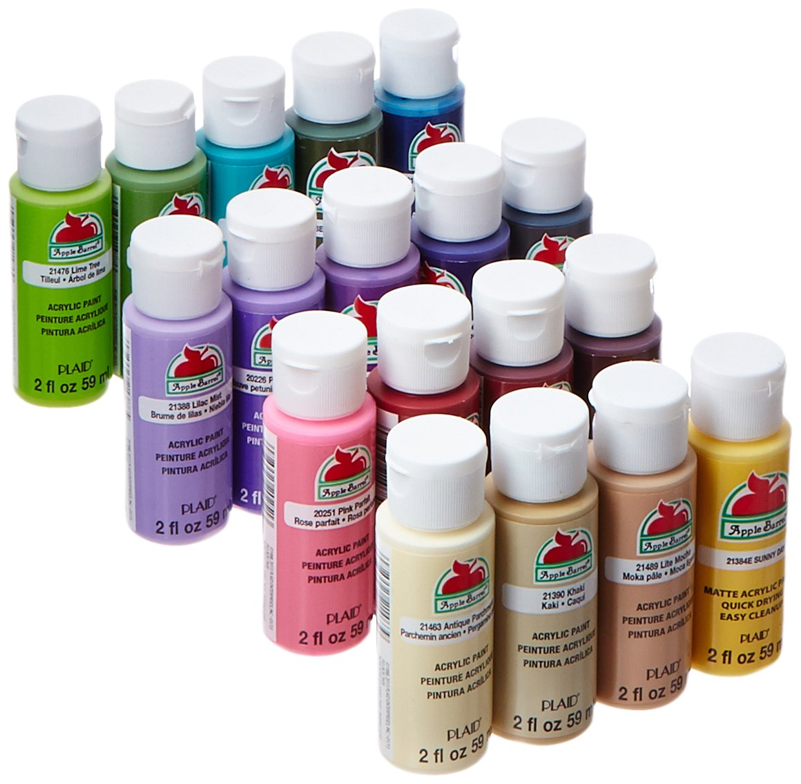 Apple Barrel Acrylic Paint Set, 18 Piece (2 Ounce)