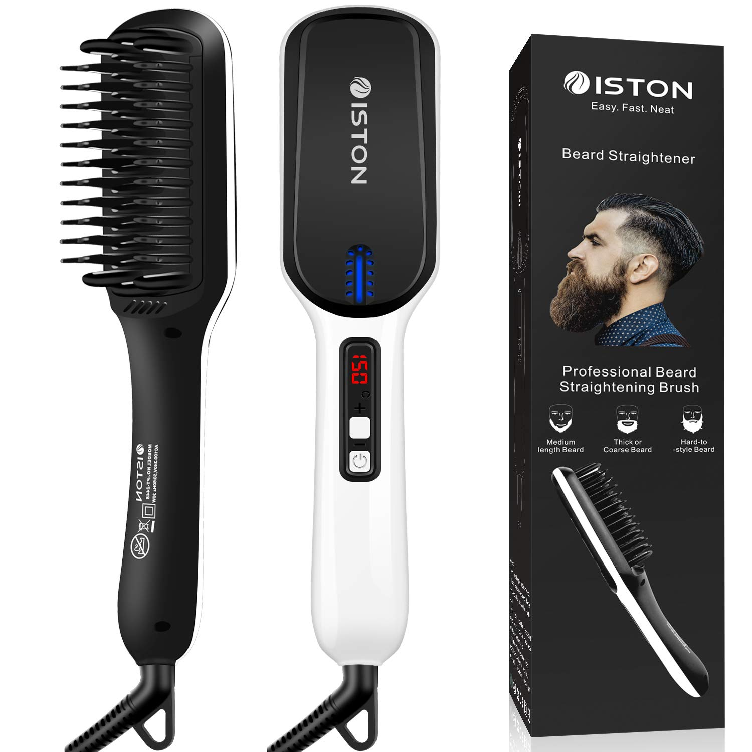 Beard Straightener for Men Ionic hair straightening brush Beard/Hair straightener with Anti-Scald Feature Portable Beard Straightener Comb with LED Display For Home & Travel by ISTON