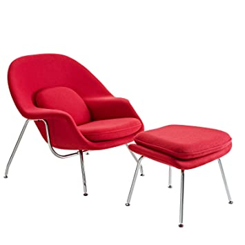 Modway Eero Saarinen Style Womb Chair And Ottoman Set In Red