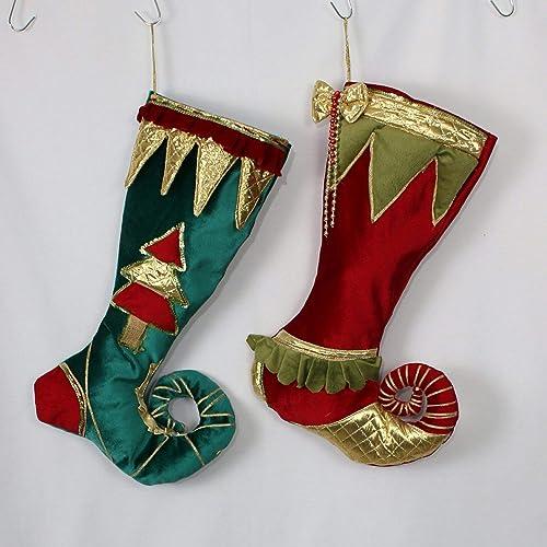 Amazon Com Elf Christmas Stockings Velvet Christmas Stocking Elf