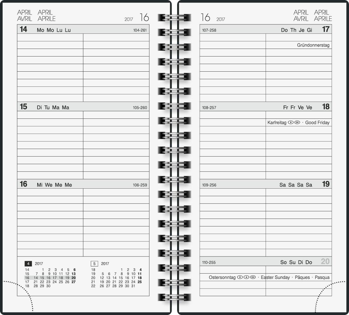 Brunnen 2019 Taschenkalender Modell 756 A6 2S//1W 8,7x15,3cm Grafik Balacron PP