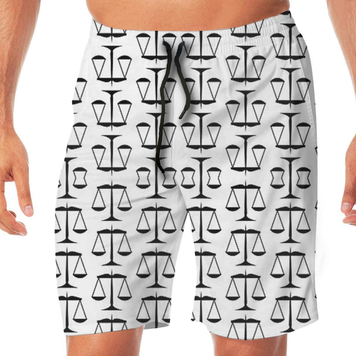MaoYTUI Black Scales of Justice On White Mens Swim Trunks Boys Quick Dry Bathing Suits Drawstring Waist Beach Broad Shorts Swim Suit Beachwear with Mesh Lining