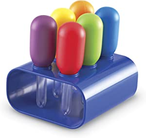 Learning Resources Jumbo Colorful Eyedroppers, Set of 6 with Stand, Science Class Tools, Sensory Table Accessories