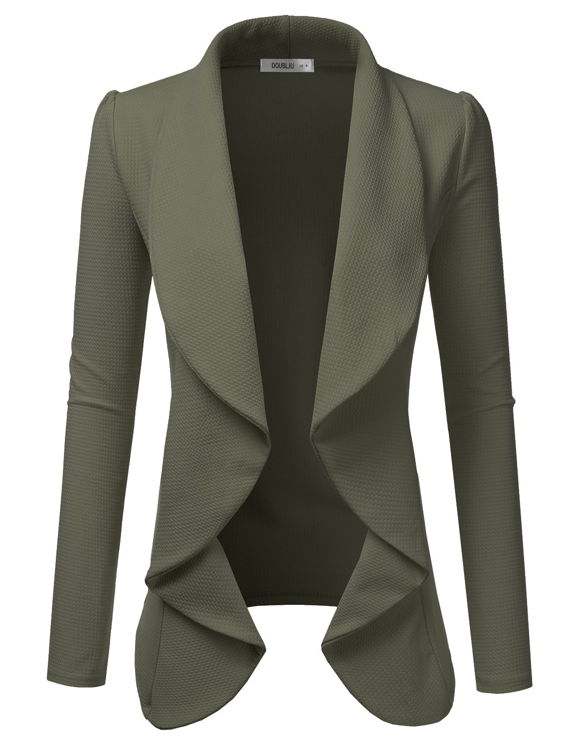 NINEXIS Womens Classic Draped Open Front Blazer Olive XL