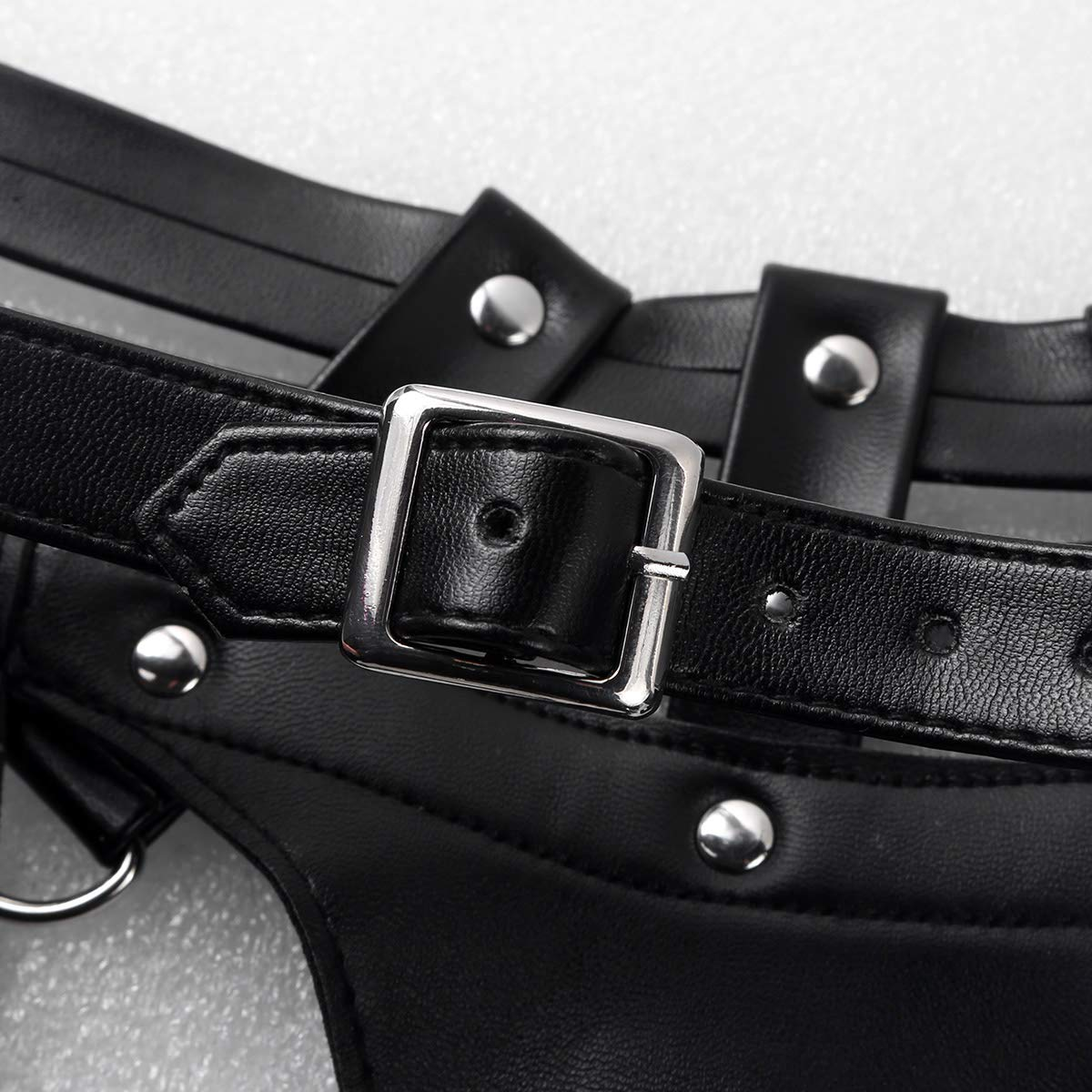 inlzdz Mens Adjustable Faux Leather Body Chest Fancy Buckles Costumes with Metal O-rings