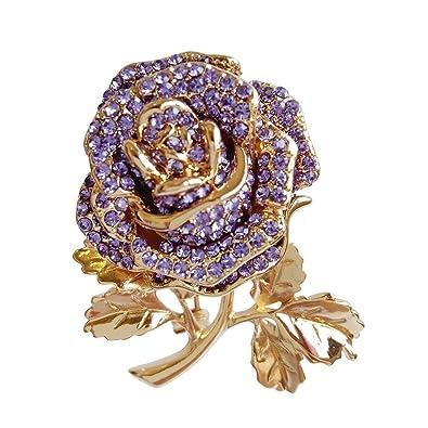 1afe2aac56e6 welwel cristal de morado broches para las mujeres retro de cristal broche  ramo de flores para ...