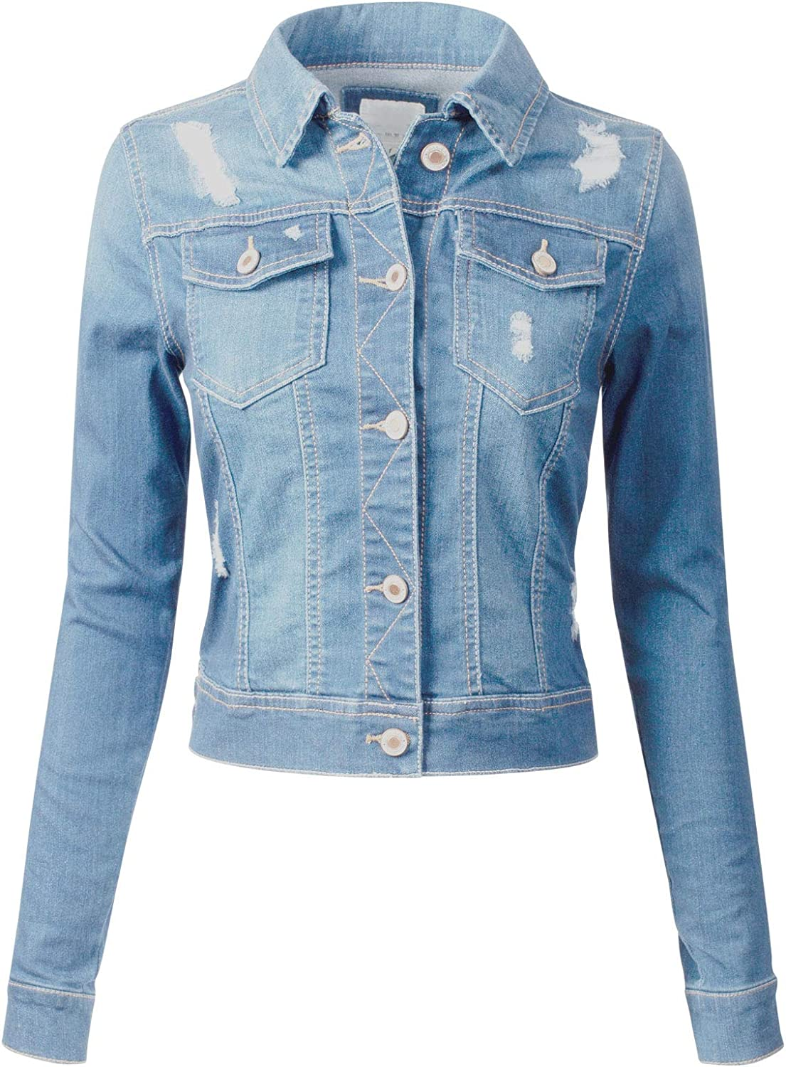 Design by Olivia Womens Long Sleeve Crop Top Button Up Comfort Stretch Denim Jacket